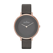 Skagen Ditte Ladies' Rose Gold Tone Leather Strap Watch - Product number 2232227