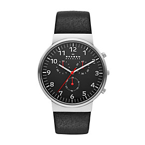 Skagen men's stainless steel black leather strap watch - Product number 2232251