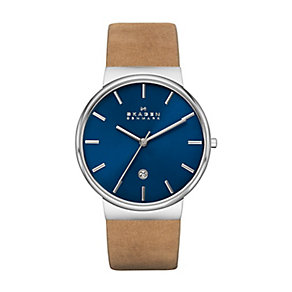 Skagen Ancher Men's Stainless Steel Tan Leather Strap Watch - Product number 2232286