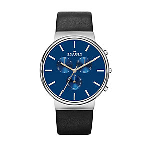 Skagen men's stainless steel black leather strap watch - Product number 2232294