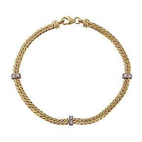 9ct yellow gold cubic zirconia bar bracelet - Product number 2232391