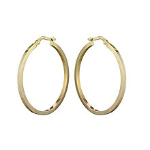 9ct yellow gold plain round creole hoop earrings - Product number 2232448