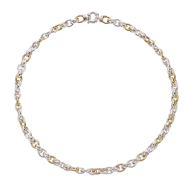 Silver & 9ct yellow gold linked necklet - Product number 2232480