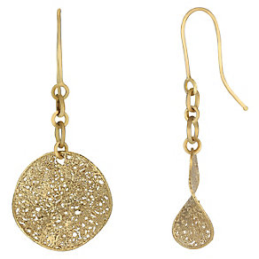 9ct yellow gold round twist lattice drop earrings - Product number 2232588