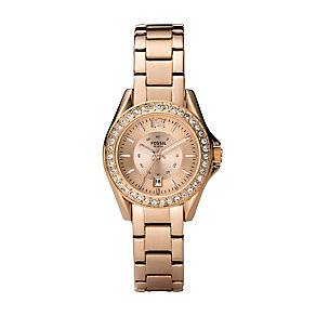 Fossil ladies' rose gold-plated stone set bracelet watch - Product number 2233177