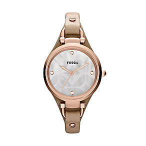 Fossil Georgia ladies' stone set sand leather strap watch - Product number 2233339