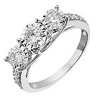 9ct white gold 3/4 carat diamond 3 stone illusion set ring - Product number 2233800