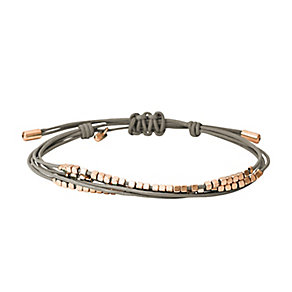 Fossil rose gold-plated grey leather bracelet - Product number 2234270