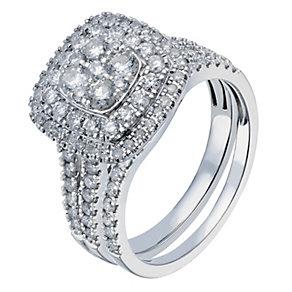 18ct white gold 1.25 carat diamond double halo bridal set - Product number 2234289