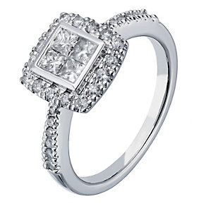 18ct white gold 0.75ct diamond princess cut cluster ring - Product number 2236354