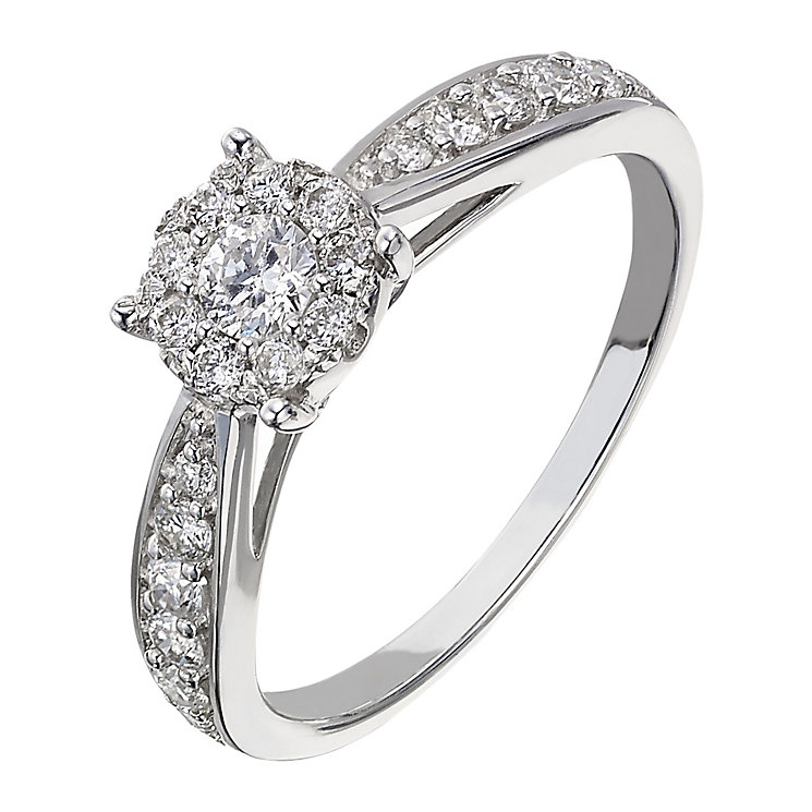 9ct white gold 0.50ct diamond halo cluster ring - Product number 2236486