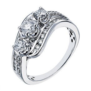 18ct white gold 1 carat diamond three stone ring - Product number 2237091