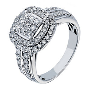 18ct white gold 1 carat diamond cluster ring - Product number 2237547