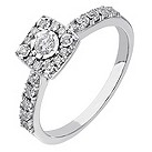 9ct white gold 20 point diamond halo illusion set ring - Product number 2237822