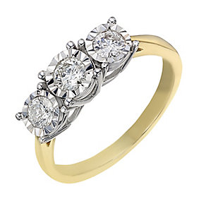 9ct gold 0.50ct diamond three stone  illusion set ring - Product number 2238276
