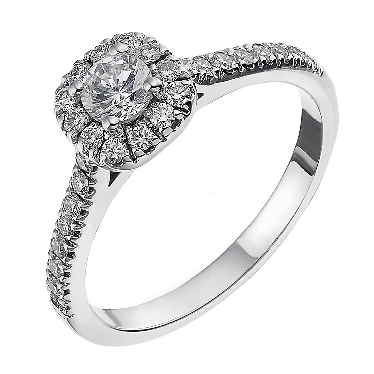 18ct white gold 0.50ct diamond halo cluster ring - Product number 2238403