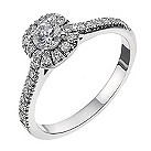 18ct white gold 1/2 carat diamond halo cluster ring - Product number 2238403