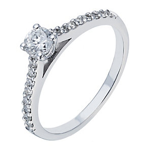 18ct white gold 0.50ct diamond solitaire ring - Product number 2238535