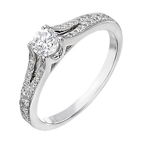 18ct white gold 0.50ct diamond solitaire split ring - Product number 2238705