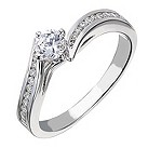 18ct white gold 1/2 carat diamond solitaire wave ring - Product number 2238837