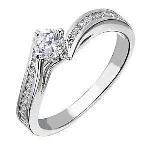 18ct white gold 0.50ct diamond solitaire wave ring - Product number 2238837