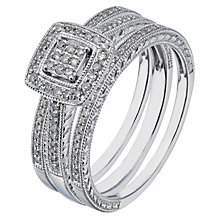 9ct white gold 0.25ct diamond three ring bridal set - Product number 2239116