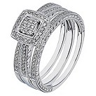 9ct white gold 1/4 carat diamond three ring bridal set - Product number 2239116