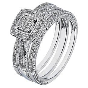 9ct white gold 0.25ct diamond three ring bridal set - Product number 2239116