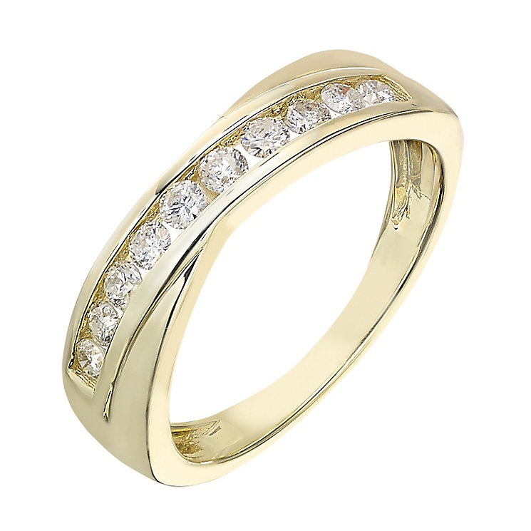 9ct gold 0.33ct diamond crossover eternity ring - Product number 2239671