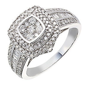 18ct white gold 0.75ct diamond double cushion halo ring - Product number 2239817