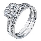 9ct white gold 1/2 carat cushion cut diamond halo bridal set - Product number 2239949