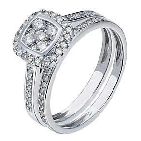 9ct white gold 0.50ct cushion cut diamond halo bridal set - Product number 2239949