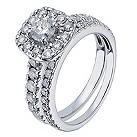 18 ct white gold 1.5 carat cushion diamond bridal set - Product number 2240211