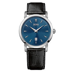Hugo Boss men's stainless steel black leather strap watch - Product number 2240548