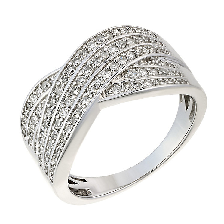 18ct white gold 0.50ct diamond 6 row crossover ring - Product number 2240645