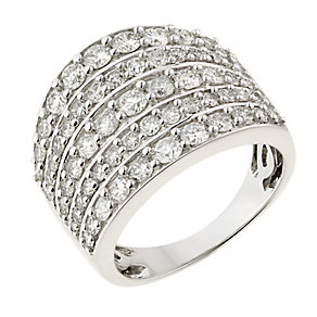 18ct white gold 2ct diamond 5 row ring with secret diamond - Product number 2240785