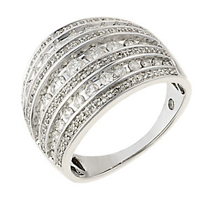18ct white gold 1ct diamond 7 row ring with secret diamond - Product number 2240912