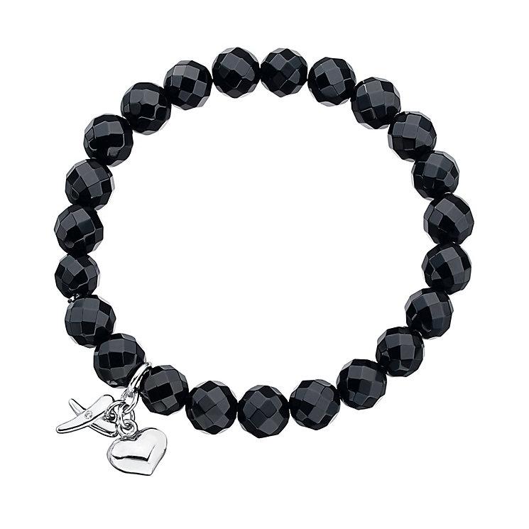 Hearts And Kisses Bracelet: Onyx Beaded Sterling Silver Kiss & Heart Charm Bracelet