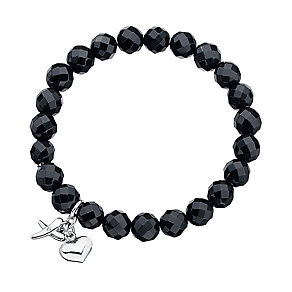 Onyx Beaded Sterling Silver Kiss & Heart Charm Bracelet - Product number 2241064