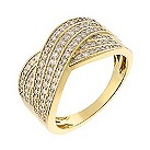 18ct yellow gold 0.50ct diamond 6 row crossover ring - Product number 2241366
