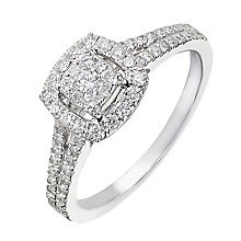 9ct white gold 0.50ct diamond cushion halo cluster ring - Product number 2241498