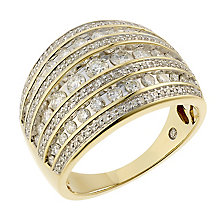 18ct gold 1ct diamond 7 row ring with secret diamond - Product number 2241625