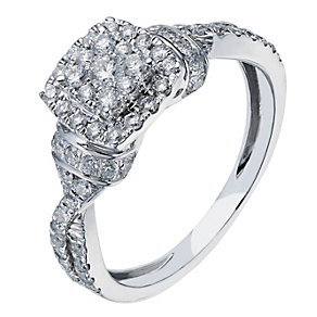 18ct white gold 66 point diamond halo cluster ring - Product number 2241781