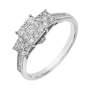 9ct white gold 0.50ct diamond square halo trilogy ring - Product number 2242249