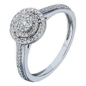 9ct white gold 20 point diamond double halo cluster ring - Product number 2242389