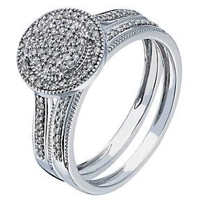 9ct white gold 0.20ct diamond bridal set - Product number 2242516