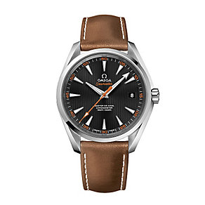 Omega Seamaster men's brown leather strap watch - Product number 2243199
