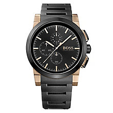 Hugo Boss men's rose gold-plated black rubber strap watch - Product number 2243350
