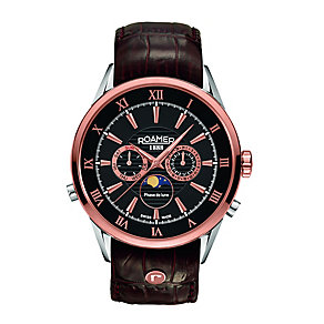 Roamer Superior Moon men's black leather strap watch - Product number 2245280