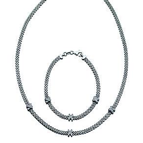 Sterling Silver Cubic Zirconia Kiss Necklet & Bracelet Set - Product number 2245329